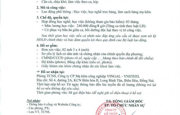 Thông báo tuyển dụng lao động phổ thông 25/09/2018